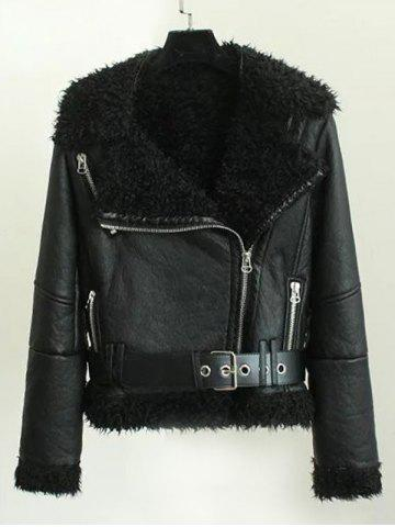 Fleece Lined Biker Jacket With Asymmetrical Zip - BLACK L