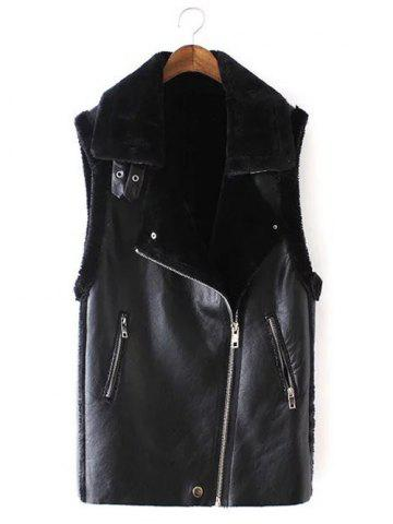 Online Slim Oblique Zipper Faux Leather Waistcoat BLACK L