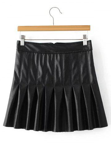 Mini Pleated Faux Leather Skirt - Black - S