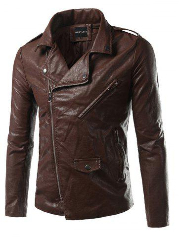 Unique Pocket Side Zip Up Epaulet Design Faux Leather Jacket BROWN L