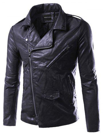 Discount Pocket Side Zip Up Epaulet Design Faux Leather Jacket BLACK 5XL