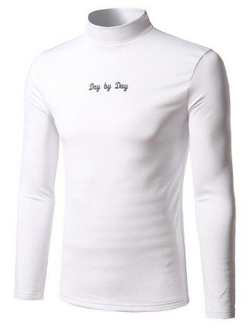 Outfit Long Sleeve Stand Collar Embroidered T-Shirt WHITE 5XL