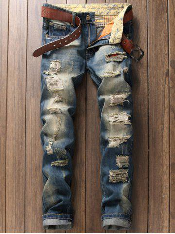Zipper Fly Pocket Rivet Scratched Ripped Jeans - BLUE 38