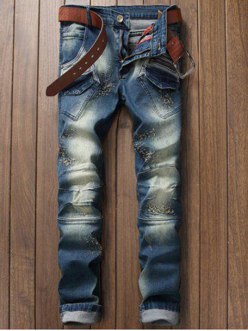 Discount Pocket Zippered Scratched Distressed Jeans BLUE 38