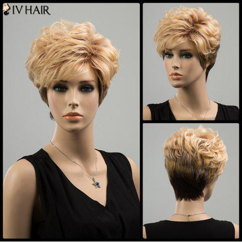 Outfits Siv Short Ombre Oblique Bang Layered Shaggy Curly Human Hair Wig