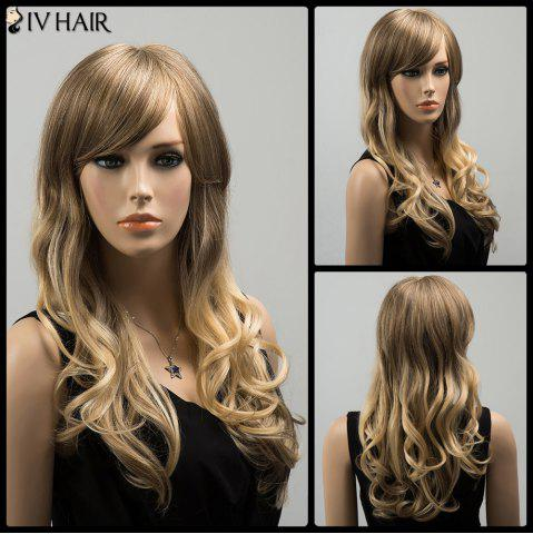 Outfit Siv Colormix Long Oblique Bang Wavy Fluffy Human Hair Wig COLORMIX