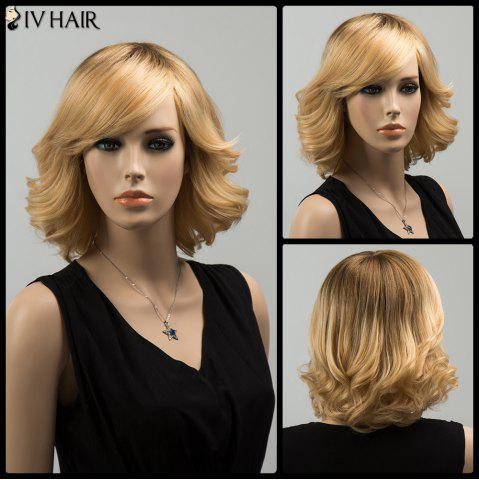 Trendy Siv Medium Oblique Bang Tail Upwards Straight Human Hair Wig