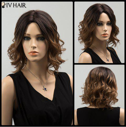 Affordable Siv Medium Shaggy Colormix Centre Parting Wavy Human Hair Wig - COLORMIX  Mobile