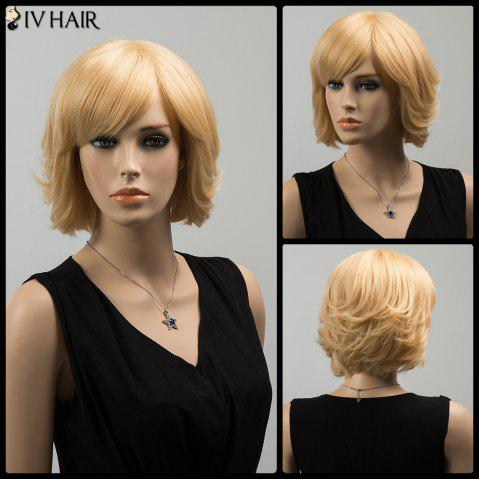 Shop Siv Short Silky Straight Inclined Bang Human Hair Wig - BLONDE  Mobile