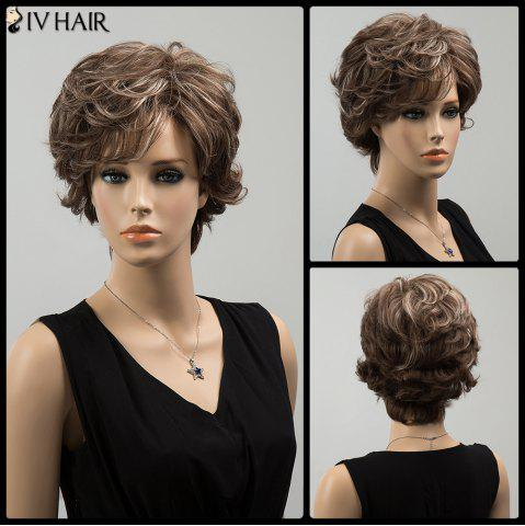Chic Siv Highlight Short Oblique Bang Wavy Fluffy Human Hair Wig COLORMIX