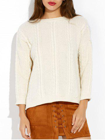 Loose Slit Cable Knit Sweater - White - One Size