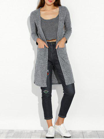 Chic Slit Long Open Cardigan With Pocket