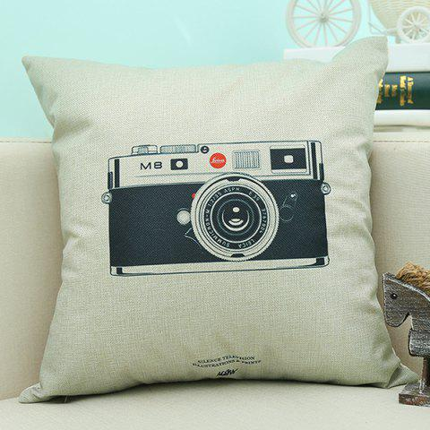 Online Camera Pattern Sofa Cushion Linen Pillow Case BEIGE
