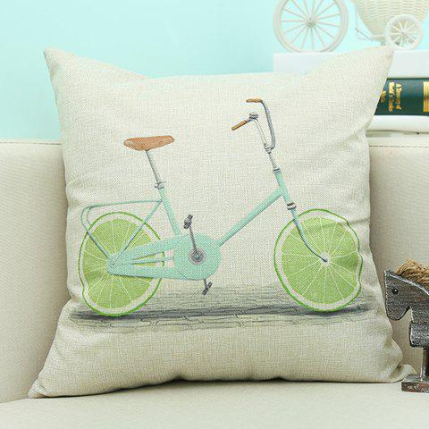 Discount Lemon Bike Pattern Sofa Cushion Linen Pillow Case BEIGE