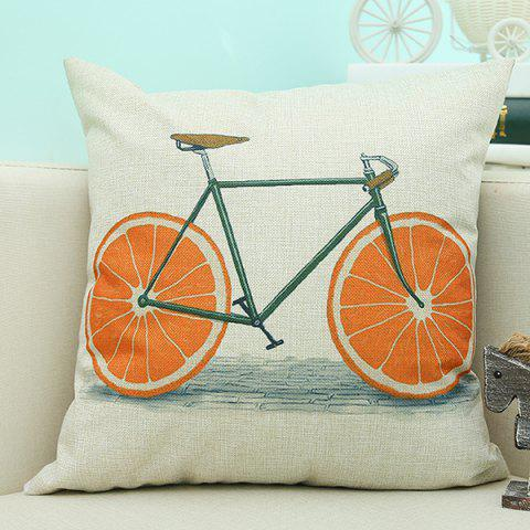 Affordable Bike Pattern Sofa Cushion Linen Pillow Case BEIGE