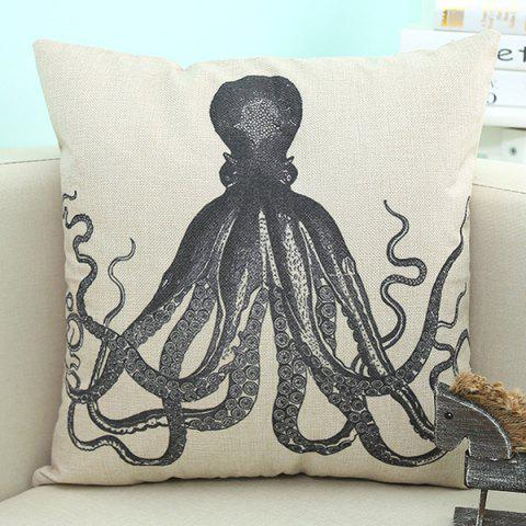Unique Octopus Pattern Sofa Cushion Linen Pillow Case BEIGE