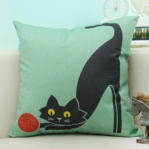 Affordable Cat Animal Design Sofa Cushion Linen Pillow Case - TURQUOISE  Mobile