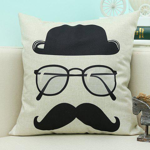 Fashion Cartoon Glasses Printed Sofa Cushion Linen Pillow Case BEIGE