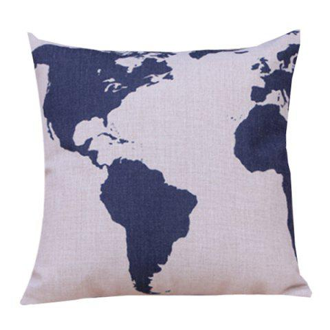 Fashion Color Block Printed Sofa Cushion Linen Pillow Case BLUE AND WHITE