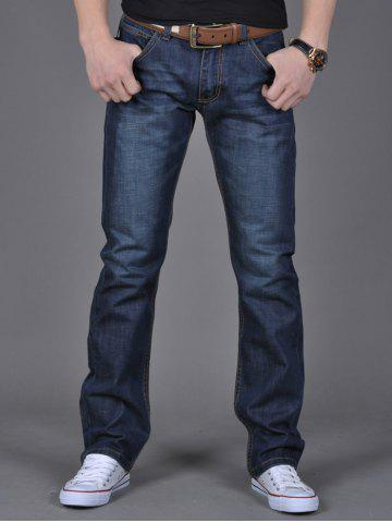 Chic Zipper Fly Flap Pocket Straight Leg Jeans DENIM BLUE 38