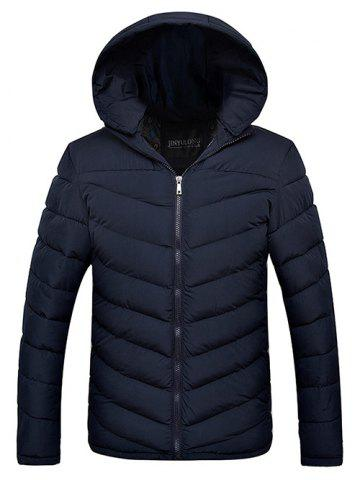 Outfit Slim Fit Zipper Up Quilted Hooded Jacket CADETBLUE 2XL