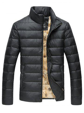 Funnel Neck Zip Up Quilted Jacket - BLACK 5XL