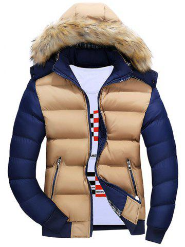 Color Block Quilted Jacket with Fur Trim Hood - Khaki - M
