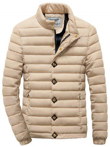 New Zipper Button Stand Collar Quilted Jacket