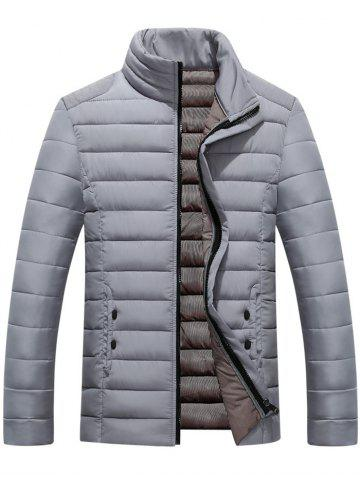 Button Embellished Zip Up Quilted Jacket - GRAY - 2XL