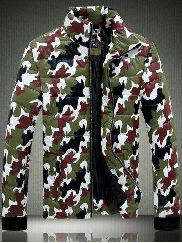 Unique Funnel Neck Zip Up Camouflage Quilted Jacket