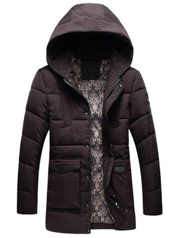Buy PU Patch Flap Pocket Hooded Padded Coat