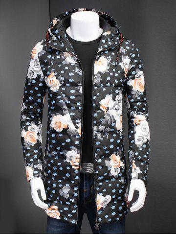 Best Zip Up Floral Printed Hooded Padded Coat FLORAL 3XL
