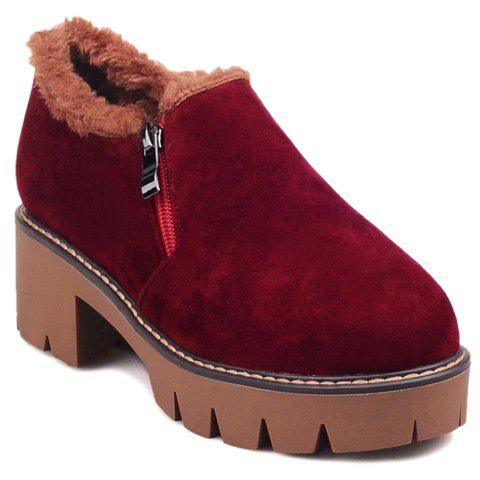 Zip Suede Platform Ankle Boots - Wine Red - 39