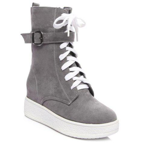 Discount Platform Buckle Strap Zip Short Boots GRAY 39