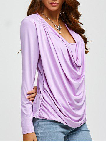 Store Ruched Draped Neckline Tee