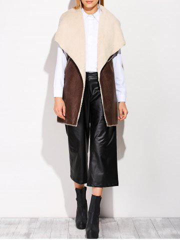 Affordable Faux Fur PU Leather Length Waistcoat DUN ONE SIZE