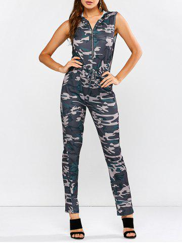 Hoodie Camouflage Pattern Zip Up Jumpsuit - Camouflage Color - L