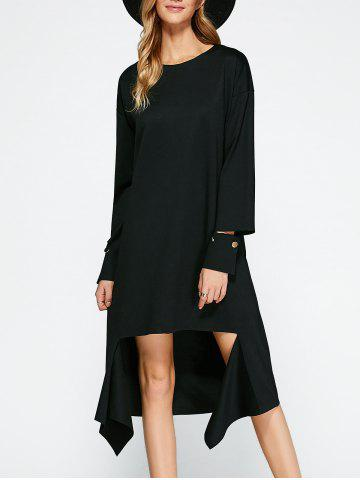 Sale Loose High Low Dress BLACK ONE SIZE