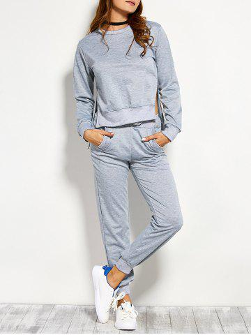 Outfits Symmetry Side Slit Pullover Sweatshirt and Pants