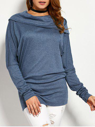 Buy Skew Collar Back Botton T-Shirt STONE BLUE M