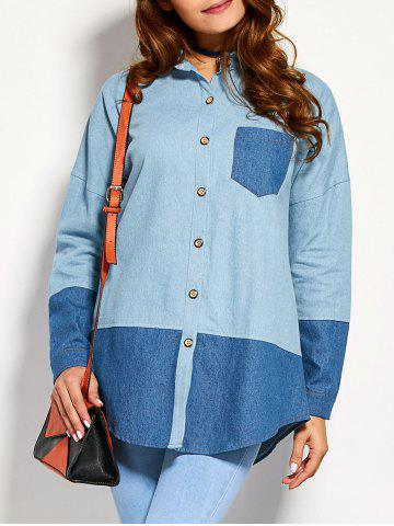 Chic Color Block Front Pocket Chambray Shirt DENIM BLUE XL