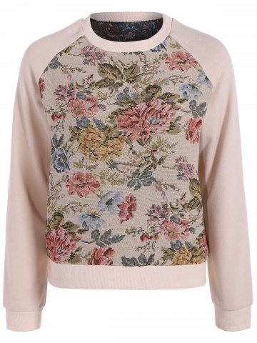 Fancy Raglan Sleeve Floral Pattern Sweatshirt PINK L