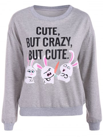 Store Letter Print Rabbit Graphic Sweatshirt GRAY L