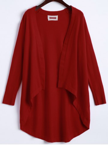 Affordable Open Front High Low Knit Cardigan