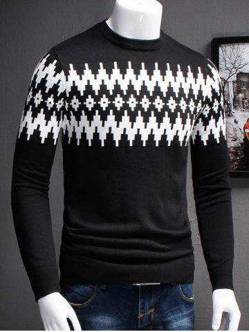 Affordable Plus Size Color Block Geometric Spliced Long Sleeve Sweater