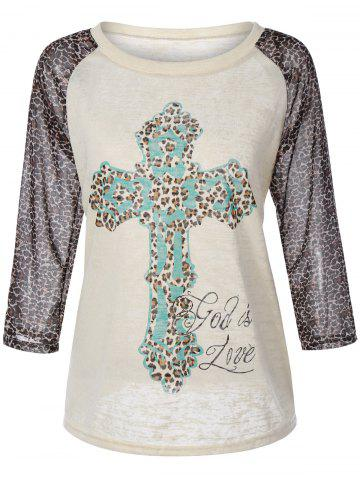 Shops Cross Print Leopard Splicing Raglan Sleeve T-Shirt