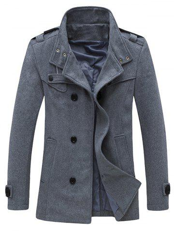Outfit Zippered Epaulet Design Stand Collar Pea Coat - GRAY M Mobile