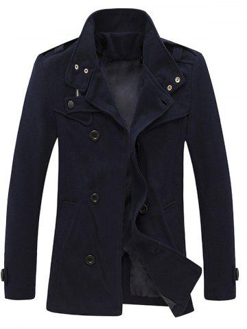 Zippered Epaulet Design Stand Collar Pea Coat - Cadetblue - 2xl