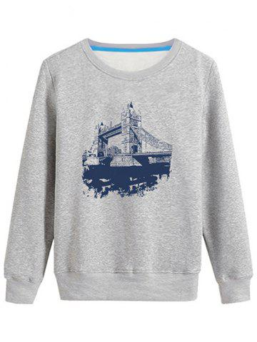 Discount 3D Bridge Printed Crew Neck Sweatshirt - S GRAY Mobile