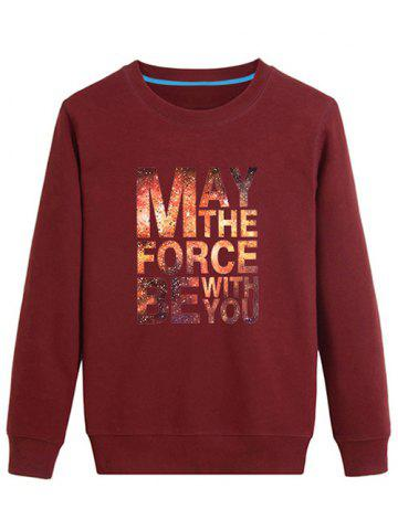 Fashion Long Sleeves Graphic Sweatshirt - 2XL DEEP RED Mobile